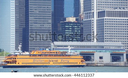 NEW YORK, NY - JUN 19: Staten Island Ferry returns to Manhattan, New York, as seen on Jun 19, 2016. The ferry carries over 21 million passengers a year.