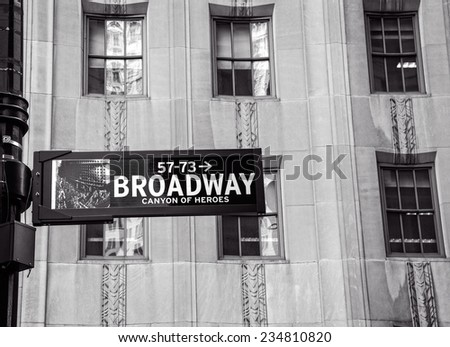 NEW YORK,NY - JUNE 23, 2014: Broadway Sign in Lower Manhattan, marking the famous street that runs 13 miles through Manhattan and 2 miles through the Bronx.