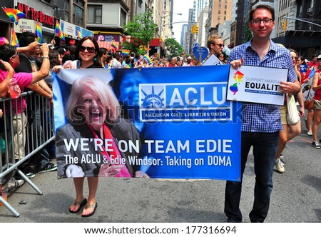 New York, NY - June 30, 2013:  Marchers from ACLU holding banner with Edie Windsor's face at the Gay Pride parade on Fifth Avenue  * - stock photo