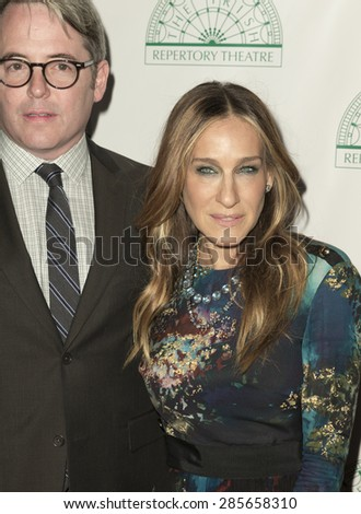 New York, NY - June 08, 2015: Matthew Broderick and Sarah Jessica Parker attend the Irish Repertory Theatre's YEATS: The Celebration at Town Hall - stock photo