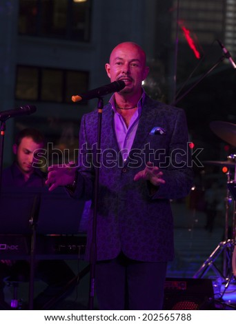 NEW YORK, NY - JUNE 30, 2014: Michael O'Connor speaks at Broadway Sings For Pride benefit concert at Toshi's Living Room at The Flatiron Hotel
