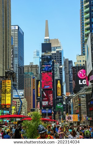 NEW YORK, NY - JUNE 24, 2014: New York City's Times Square, the junction of Broadway and 7th Avenue, is now one of the busiest pedestrian intersections and major center for worldwide entertainment.  - stock photo