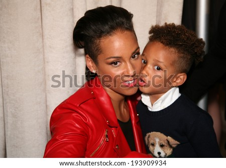 NEW YORK, NY - MAY 19: Alicia Keys and her son Egypt Dean at the Ralph Lauren Fall 14 Children's Fashion Show in Support of Literacy at New York Public Library on May 19, 2014 in New York City.