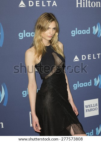New York, NY - May 9, 2015: Andreja Pejic attends 26th Annual GLAAD Media Awards at Waldorf Astoria - stock photo