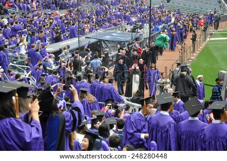 NEW YORK, NY - MAY 22: New York University (NYU) 181st Commencement Ceremony at the Yankee Stadium in New York City, as seen on May 22, 2013. Over 14000 degree students graduated at the ceremony.. - stock photo