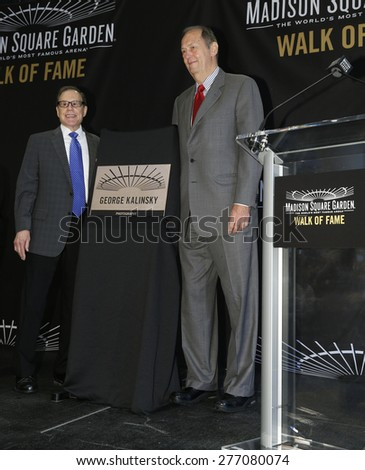 New York, NY - May 11, 2015: Photographer George Kalinsky and Bill Bradley attend the Madison Square Garden 2015 Walk of Fame Inductions Ceremony at Madison Square Garden