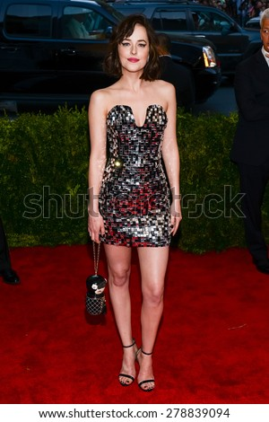 New York, NY  Monday May 04, 2015: Dakota Johnson attends 'China: Through The Looking Glass' Costume Institute Gala, held at the Metropolitan Museum of Art in New York City, New York. - stock photo