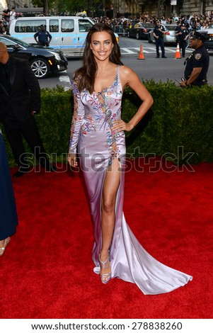 New York, NY  Monday May 04, 2015: Irina Shayk attends 'China: Through The Looking Glass' Costume Institute Gala, held at the Metropolitan Museum of Art in New York City, New York. - stock photo