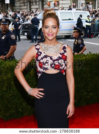 New York, NY  Monday May 04, 2015: Jennifer Lawrence attends 'China: Through The Looking Glass' Costume Institute Gala, held at the Metropolitan Museum of Art in New York City, New York. - stock photo