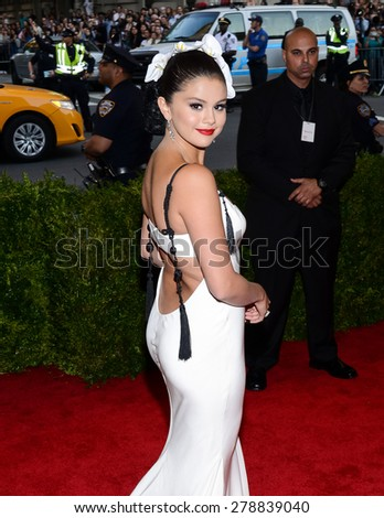 New York, NY  Monday May 04, 2015: Selena Gomez attends 'China: Through The Looking Glass' Costume Institute Gala, held at the Metropolitan Museum of Art in New York City, New York. - stock photo