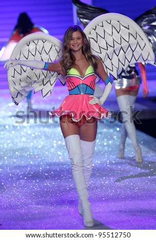 NEW YORK, NY - NOVEMBER 09: Model Behati Prinsloo walks the runway during the 2011 Victoria's Secret Fashion Show at the Lexington Avenue Armory on November 9, 2011 in New York City. - stock photo