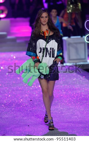NEW YORK, NY - NOVEMBER 09: Model Jessica Clarke walks the runway during the 2011 Victoria's Secret Fashion Show at the Lexington Avenue Armory on November 9, 2011 in New York City.