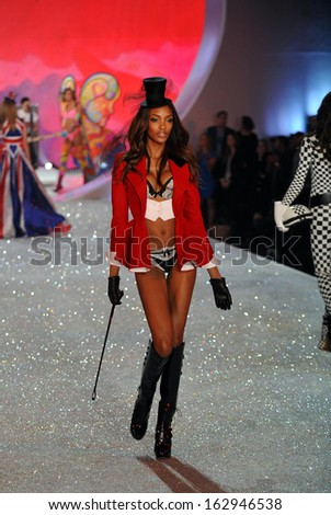 NEW YORK, NY - NOVEMBER 13: Model Jourdan Dunn walks the runway at the 2013 Victoria's Secret Fashion Show at Lexington Avenue Armory on November 13, 2013 in New York City.