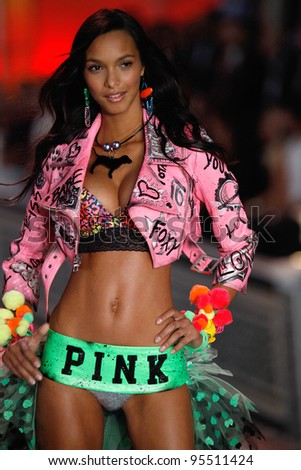 NEW YORK, NY - NOVEMBER 09: Model Lais Ribeiro walks the runway during the 2011 Victoria's Secret Fashion Show at the Lexington Avenue Armory on November 9, 2011 in New York City. - stock photo