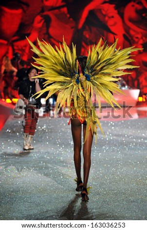 NEW YORK, NY - NOVEMBER 13: Model Maria Borges walks the runway at the 2013 Victoria's Secret Fashion Show at Lexington Avenue Armory on November 13, 2013 in New York City.