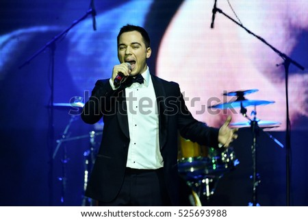NEW YORK, NY - NOVEMBER 27: Singer Rodion Gazmanov performing on stage during the Big Apple Music Awards 2016 Concert at Master Theater on November 27, 2016 in Brooklyn NY.