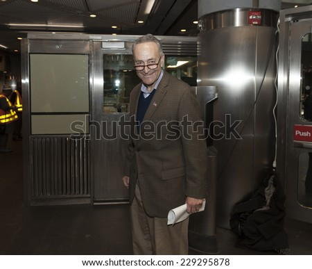 New York, NY - November 9, 2014: US Senator Charles 'Chuck' Schumer attends opening ceremony Fulton Center unveiled by Metropolitan Transit Authority during opening ceremony on Broadway in Manhattan - stock photo