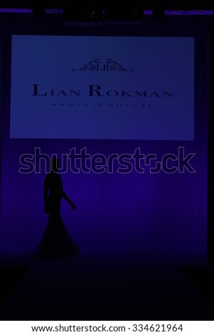 NEW YORK, NY - OCTOBER 10: A model walks at Lian Rokman Bridal Fall/Winter 2016 Runway Show at The Pier 94 on October 10, 2015 in New York City.