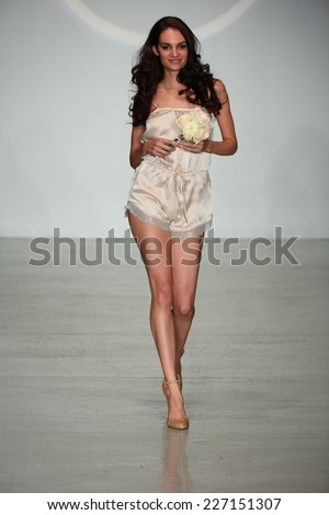 NEW YORK, NY - OCTOBER 25: A model walks runway at Finale Runway Show during Lingerie Fashion week closing benefit Spring 2015 collections at the Center 548 on October 25, 2014 in New York City.