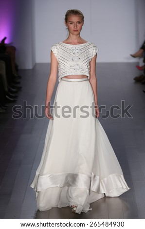 NEW YORK, NY - OCTOBER 10: A model walks runway at Hayley Paige fashion show during Fall 2015 Bridal Collection on October 10, 2014 in NYC.