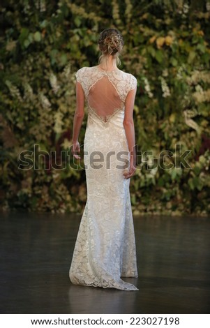 NEW YORK, NY - OCTOBER 10: A model walks the runway during the Claire Pettibone Fall 2015 Bridal Collection Show on October 10, 2014 in New York City.  - stock photo