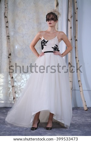 NEW YORK, NY - OCTOBER 13: A model walks the runway during the Elizabeth Fillmore Fall/Winter 2016 Couture Bridal Collection runway show on October 13, 2015 in New York City.