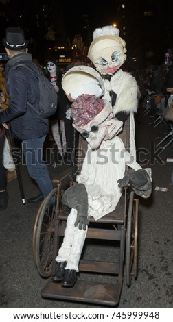 New York, NY - October 31, 2017: Atmosphere at 44th New York City Halloween parade in the Village on theme Cabinet of Curiosities: An Imaginary Menagerie