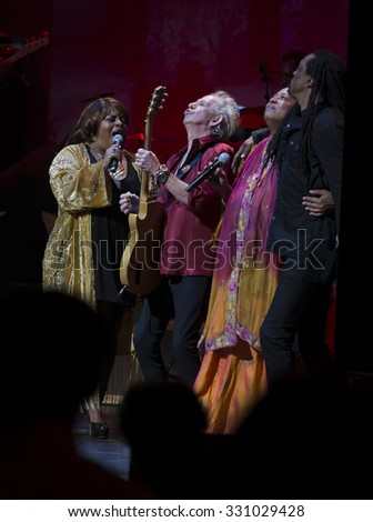 New York, NY - October 22, 2015: Keith Richards, Sarah Dash, Lisa Fischer & Bernard Fowler preform during Great NIght in Harlem fundraising concert for Jazz Foundation of America at Apollo theater - stock photo