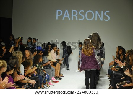 NEW YORK, NY - OCTOBER 18: Models walk the runway during the Parsons preview at petitePARADE / Kids Fashion Week at Bathhouse Studios on October 18, 2014 in New York City.  - stock photo