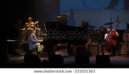 New York, NY - October 22, 2015: Randy Weston, Alex Blake preform during Great NIght in Harlem fundraising concert for Jazz Foundation of America at Apollo theater