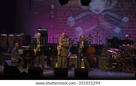 New York, NY - October 22, 2015: Ravi Coltrane, James Carter, Billy Harper preform during Great NIght in Harlem fundraising concert for Jazz Foundation of America at Apollo theater