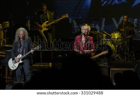 New York, NY - October 22, 2015: Waddy Wachtel, Keith Richards preform during Great NIght in Harlem fundraising concert for Jazz Foundation of America at Apollo theater - stock photo