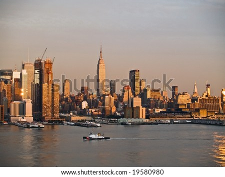 New York, NY-Sept.16th 2008: A current late afternoon view of the New York City skyline as seen from Weehawken, NJ.