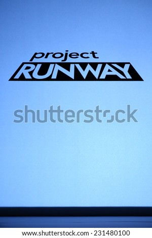 NEW YORK, NY - SEPTEMBER 05: A logo of the Project Runway show during Mercedes-Benz Fashion Week Spring 2015 at Lincoln Center on September 5, 2014 in NYC - stock photo