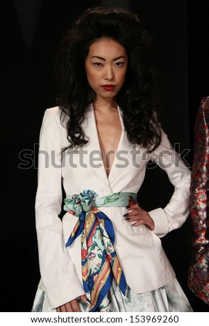 NEW YORK, NY - SEPTEMBER 07: A model poses at the Malan Breton Spring 2014 Fashion Presentation during Mercedes-Benz Fashion Week at Lincoln Center in New York City on September 7, 2013.