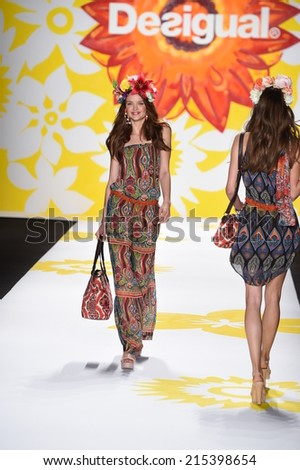NEW YORK, NY - SEPTEMBER 04: A model walks the runway at Desigual during Mercedes-Benz Fashion Week Spring 2015 on September 4, 2014 in New York City. - stock photo