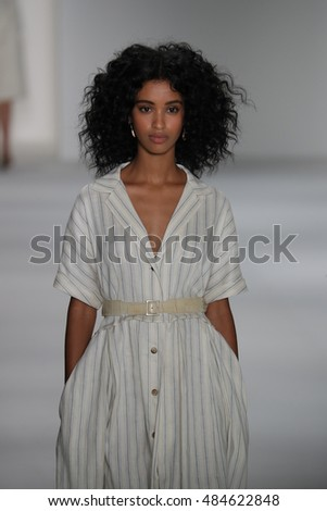 NEW YORK, NY - SEPTEMBER 08: A model walks the runway at the Brock Collection fashion show during New York Fashion Week September 2016 at Milk Studios on September 8, 2016 in New York City.