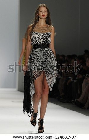 NEW YORK, NY - SEPTEMBER 10: A model walks the runway at the Carlos Miele  Spring Summer 2013 fashion show during Mercedes-Benz Fashion Week on September 10, 2012 in New York City, USA