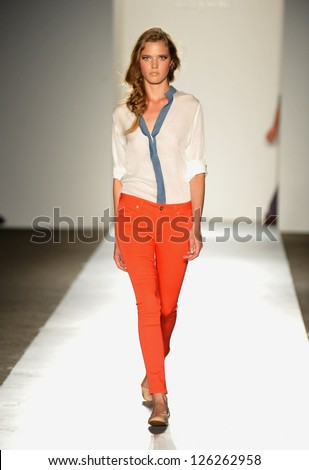 NEW YORK, NY - SEPTEMBER 05: A model walks the runway at the DL 1961 Premium Denim spring 2013 fashion show during Mercedes-Benz Fashion Week at Pier 57 on September 5, 2012 in New York City. - stock photo