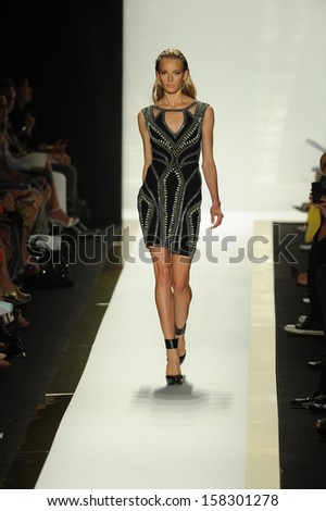 NEW YORK, NY - SEPTEMBER 07: A model walks the runway at the Herve Leger by Max Azria Spring 2014 fashion show during Mercedes-Benz Fashion Week at Lincoln Center in New York City on September 7, 2013