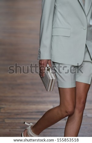 NEW YORK, NY - SEPTEMBER 06: A model walks the runway at the Jason Wu show during Spring 2014 Mercedes-Benz Fashion Week at 82 Mercer on September 6, 2013 in New York City.