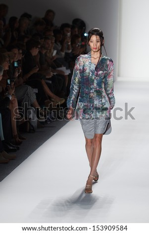 NEW YORK, NY - SEPTEMBER 7: A model walks the runway at the Katya Leonovich Spring Summer 2014 fashion show during Mercedes-Benz Fashion Week on September 7, 2013 in New York City, USA.