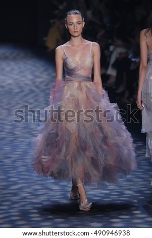NEW YORK, NY - SEPTEMBER 14: A model walks the runway at the Marchesa fashion show during New York Fashion Week on September 14, 2016 in New York City.