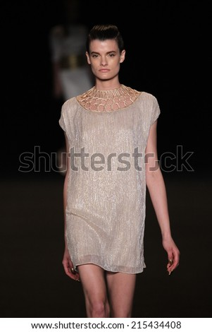NEW YORK, NY - SEPTEMBER 04: A model walks the runway at the Meskita fashion show during Mercedes-Benz Fashion Week Spring 2015 on September 4, 2014 in New York City.  - stock photo