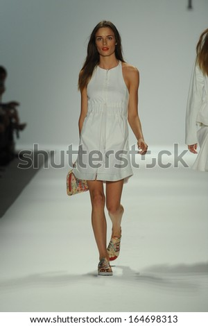 NEW YORK, NY - SEPTEMBER 11: A model walks the runway at the Nanette Lepore show during Spring 2014 Mercedes-Benz Fashion Week at The Stage at Lincoln Center on September 11, 2013 in New York City.