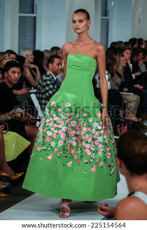 NEW YORK, NY - SEPTEMBER 09: A model walks the runway at the Oscar De La Renta fashion show during Mercedes-Benz Fashion Week Spring 2015 on September 9, 2014 in New York City. - stock photo