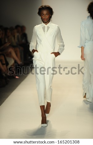 NEW YORK, NY - SEPTEMBER 11: A model walks the runway at the Rachel Zoe show during Spring 2014 Mercedes-Benz Fashion Week at The Studio at Lincoln Center on September 11, 2013 in New York City.