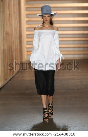 NEW YORK, NY - SEPTEMBER 06: A model walks the runway  at the Tibi fashion show during Mercedes-Benz Fashion Week Spring 2015 on September 6, 2014 in New York City.
