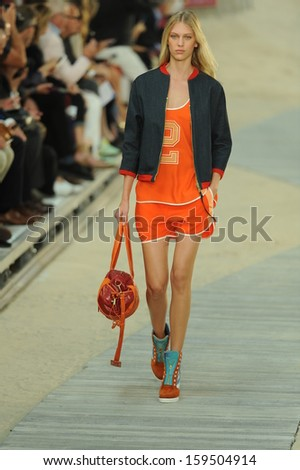 NEW YORK, NY - SEPTEMBER 09: A model walks the runway at the Tommy Hilfiger Women's fashion show during Mercedes-Benz Fashion Week on September 9, 2013 in New York City.  - stock photo