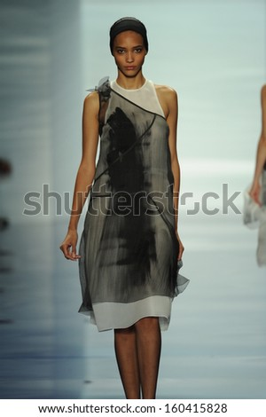 NEW YORK, NY - SEPTEMBER 10: A model walks the runway at the Vera Wang show during Spring 2014 Mercedes-Benz Fashion Week at Lincoln Center on September 10, 2013 in New York City.